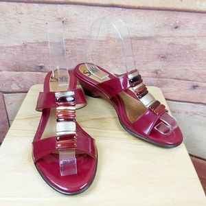 Sofft strawberry pink leather heeled sandals